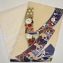 短冊に四季の花文刺繍開き名古屋帯 帯裏