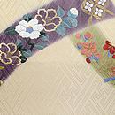 短冊に四季の花文刺繍開き名古屋帯 前中心