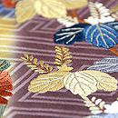 短冊に四季の花文刺繍開き名古屋帯 質感・風合