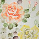 白地薔薇の名古屋帯 前中心