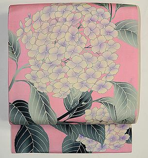縮緬地に紫陽花の図名古屋帯