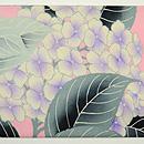 縮緬地に紫陽花の図名古屋帯 前中心