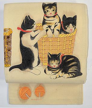 猫尽くしの染め帯