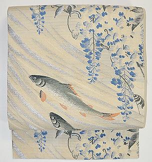 藤に鮎刺繍名古屋帯