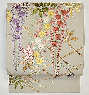 枝垂藤刺繍名古屋帯