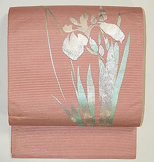 燕子花刺繍絽袋帯