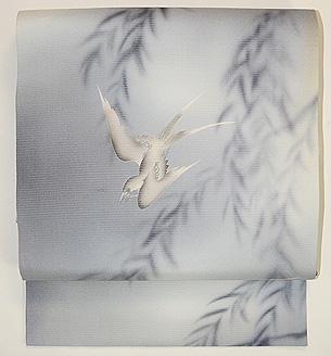 柳に燕の図名古屋帯