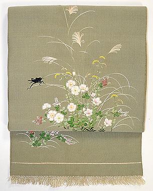 秋草に蟋蟀の図刺繍帯