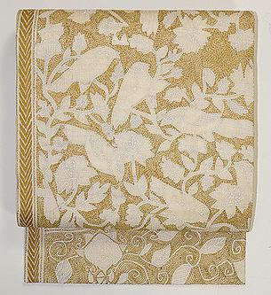 花に鳥模様カンタ刺繍名古屋帯