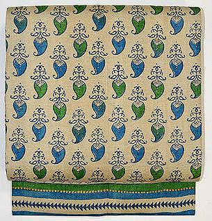 青と緑のペイズリー柄名古屋帯