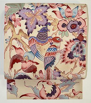 花喰い鳥手描き更紗の名古屋帯