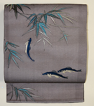 笹に鮎刺繍帯