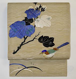 秋の花と小鳥の刺繍名古屋帯