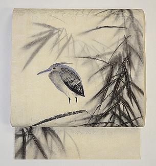 笹に川蝉の図名古屋帯