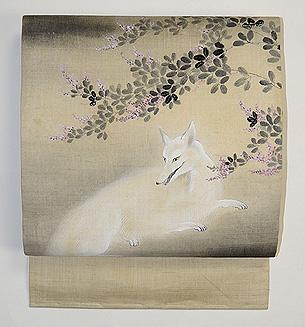 萩の下白狐の染め名古屋帯