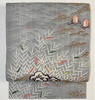 「礒浜に塩汲みの図」江戸裂名古屋帯