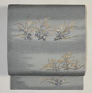紋紗に秋草刺繍名古屋帯