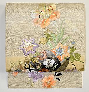 夏草船刺繍開き名古屋帯