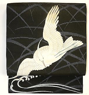 飛翔鷺の図名古屋帯