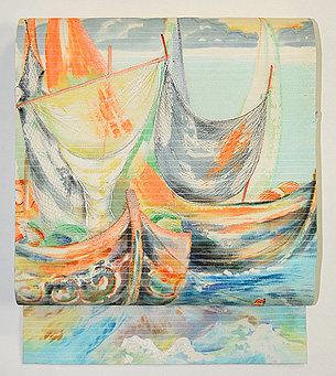 ヨットの図夏帯