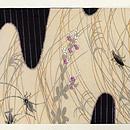 秋草に蟋蟀(こおろぎ)の図刺繍名古屋帯 前中心