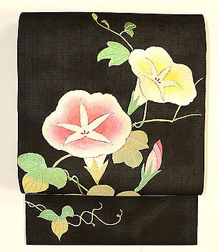 黒地朝顔の刺繍名古屋帯
