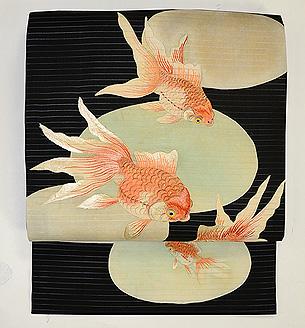 黒地金魚の夏帯