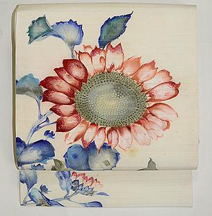 向日葵の図絽塩瀬名古屋帯