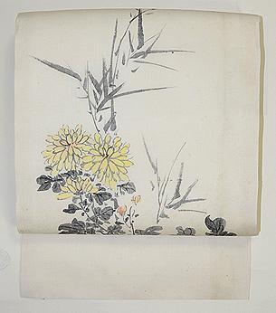 菊と萩墨絵の名古屋帯