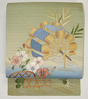 水車に蛇籠夏の名古屋帯