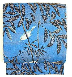 青地小鳥の図織名古屋帯