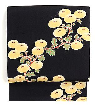 黒地万寿菊の名古屋帯