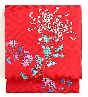 赤地乱菊の刺繍名古屋帯