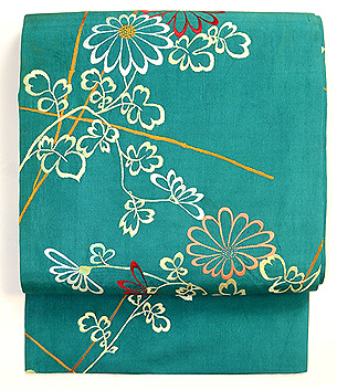 青緑地菊の刺繍帯