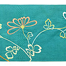 青緑地菊の刺繍帯 前中心