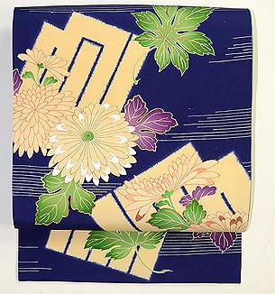 青地源氏香に菊と楓の名古屋帯