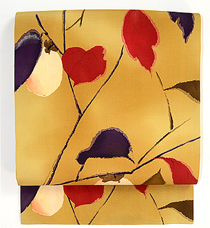 紫に赤の葉柿の図名古屋帯