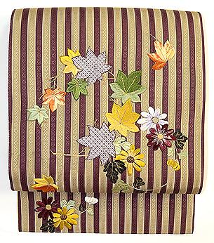 縞博多菊と紅葉の刺繍名古屋帯
