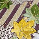 縞博多菊と紅葉の刺繍名古屋帯 質感・風合