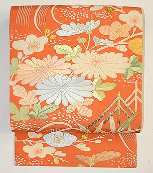 蘆野水辺模様小袖うつし染名古屋帯