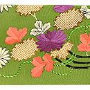 草色縮緬地菊、藤、葵祝い結び刺繍名古屋帯 前中心
