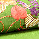 草色縮緬地菊、藤、葵祝い結び刺繍名古屋帯 質感・風合