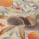 秋の実りと紅葉の縮緬地染名古屋帯 質感・風合
