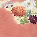 雲取りに菊花刺繍開き名古屋帯 前中心
