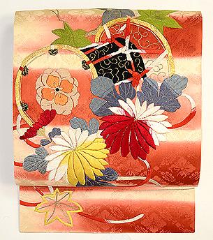 鼓に菊楓文刺繍名古屋帯