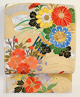青海波に百花熨斗刺繍綴織袋帯