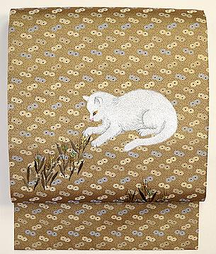白猫と弘法麦の刺繍名古屋帯