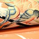 葉鶏頭に小鳥の図名古屋帯 質感・風合