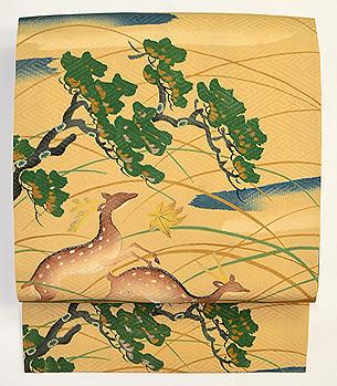 遠山に鹿の染め名古屋帯