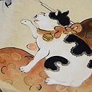 鈴に猫の絵染め名古屋帯 質感・風合